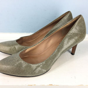 ANN TAYLOR Gray brown leather Embossed 8 heels